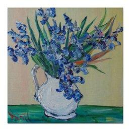 "Холст 50x50 ""Красота"" - весна, ирисы, цветочки, букет, в кувшине"