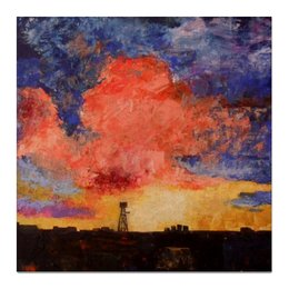 "Холст 50x50 ""Пейзаж"" - город, sky, небо, закат, пейзаж, sunset, вышка"