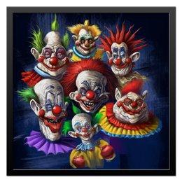 """Холст 50x50 """"Клоуны-злодеи"""" - ужасы, фэнтэзи, клоуны, злодеи"""
