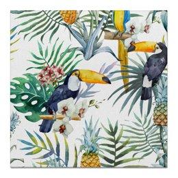 "Холст 50x50 ""Пеликаны и ананасы"" - красиво, птицы, природа, ананас, пеликан"