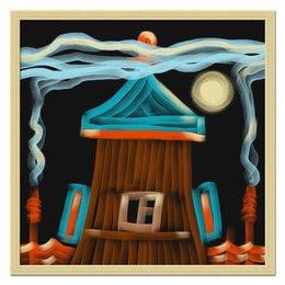 """Холст 50x50 """"Полнолуние"""" - луна, живопись, дым, дизайнерские, изба"""