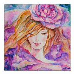 "Холст 50x50 ""Дюймовочка"" - девушка, цветок, женщина, акварель, дюймовочка"