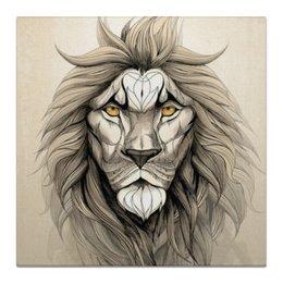 """Холст 50x50 """"Царь зверей.Лев."""" - лев, царь, король, животные, природа"""