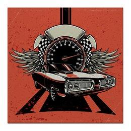 "Холст 50x50 ""Fast and Fury"" - крылья, авто, дорога, скорость, спидометр"