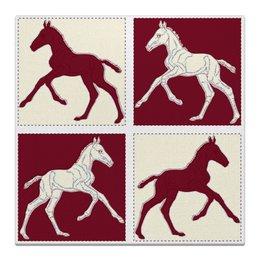 "Холст 50x50 ""Жеребята на красном и бежевом фоне"" - лошадь, графика, конь, жеребенок, кобыла"