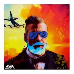 """Холст 50x50 """"Борода Авиатор"""" - небо, борода, самолет, авиатор"""