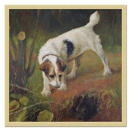 """Холст 50x50 """"2018 год Желтой Земляной Собаки"""" - новый год, картина, собака, 2018, артур вардль"""