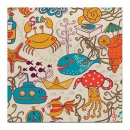 """Холст 50x50 """"Морские обитатели"""" - море, кит, рыбки, осьминог, морские обитатели"""