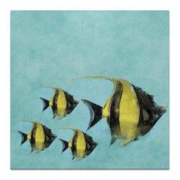 """Холст 50x50 """"Рыбки"""" - черный, море, голубой, желтый, акварель"""
