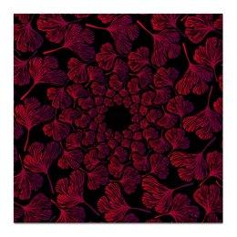 """Холст 50x50 """"Орнамент из красных листьев гинкго"""" - красный, круг, орнамент, гинкго"""