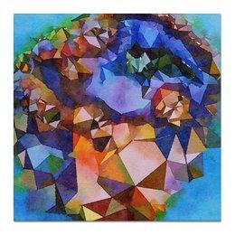 "Холст 50x50 ""Жеода"" - оранжевый, голубой, фиолетовый, синий"