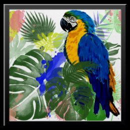 """Холст 50x50 """"Попугай Ара в тропиках"""" - птицы, попугай, тропические листья, попугай ара"""