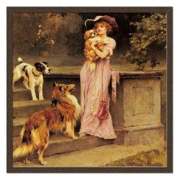"""Холст 50x50 """"Девушка с собаками"""" - девушка, новый год, картина, собака, артур вардль"""