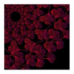 """Холст 50x50 """"Орнамент из красных листьев гинкго"""" - красный, круг, венок, гинкго"""