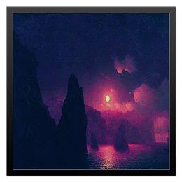 """Холст 50x50 """"Крымский пейзаж."""" - море, ночь, пейзаж, луна, корабль, гавань, бухта, крымский, мыс фиолент"""