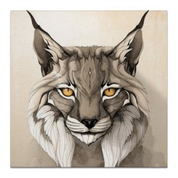 """Холст 50x50 """"Рысь."""" - кошка, животные, природа, рысь, кисточки"""