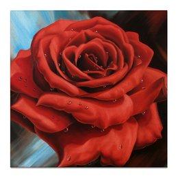 """Холст 50x50 """"Красная роза"""" - любовь, цветы, роза, innanovitsart, red rose"""