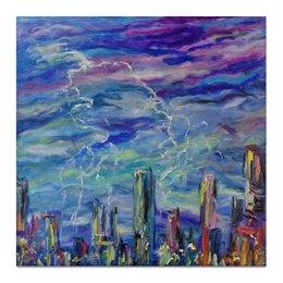 """Холст 50x50 """"Молния"""" - красиво, гроза, небо, молния, над городом"""