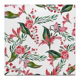 """Холст 50x50 """"Цветы на белом"""" - цветы, роза, листья, природа, пион"""