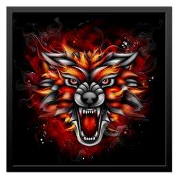 """Холст 50x50 """"Wolf & Fire"""" - огонь, волк, fire, дым, wolf"""