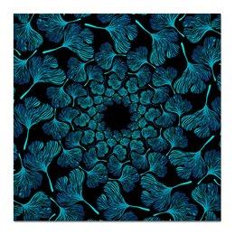 """Холст 50x50 """"Орнамент из голубых листьев гинкго"""" - голубой, круг, орнамент, гинкго"""