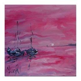 """Холст 50x50 """"розовый закат"""" - красиво, интерьер, живопись, морская тема, недорогая картина"""