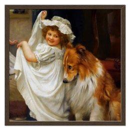 """Холст 50x50 """"Девочка с собакой"""" - собака, живопись, день матери, артур элсли"""