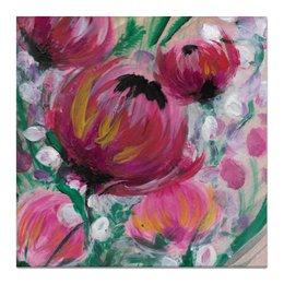"""Холст 50x50 """"Полевые цветы"""" - лето, цветы, весна, розовый, подарок"""