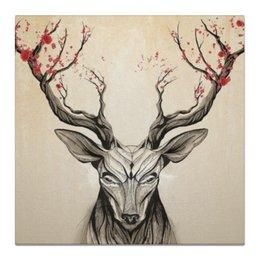 """Холст 50x50 """"Олень"""" - цветы, природа, олень, рога, deer"""