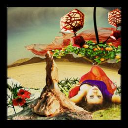 """Холст 50x50 """"Нега."""" - девушка, пустыня, апельсины, расслабление, нега"""