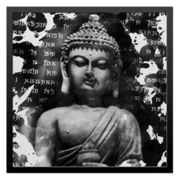 "Холст 50x50 ""Будда (Письмена)"" - философия, религия, buddha, будда, духовность"