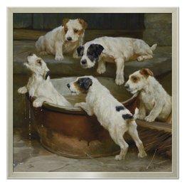 "Холст 50x50 ""2018 год Собаки"" - новый год, картина, собака, 2018, артур вардль"