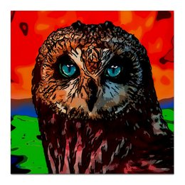 """Холст 50x50 """"Огненная сова"""" - птицы, сова, фауна"""