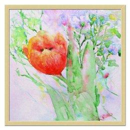 "Холст 50x50 ""Тюльпан. К солнышку!"" - цветок, картина, тюльпаны, живопись, акварелью"