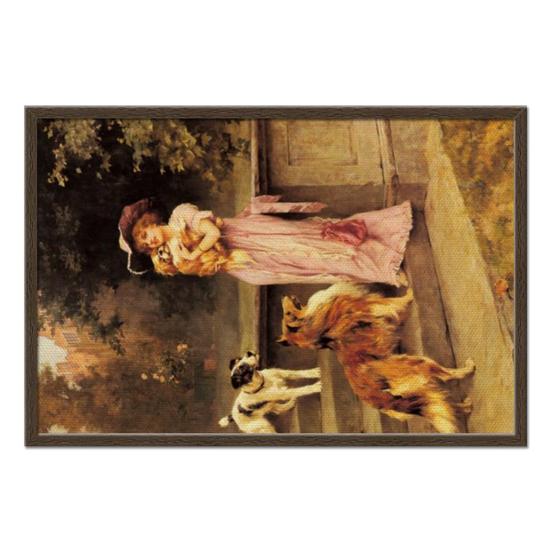 Фото - Холст 50x75 Printio Девушка с собаками картина девушка с зонтом с подсветкой на камне бронза