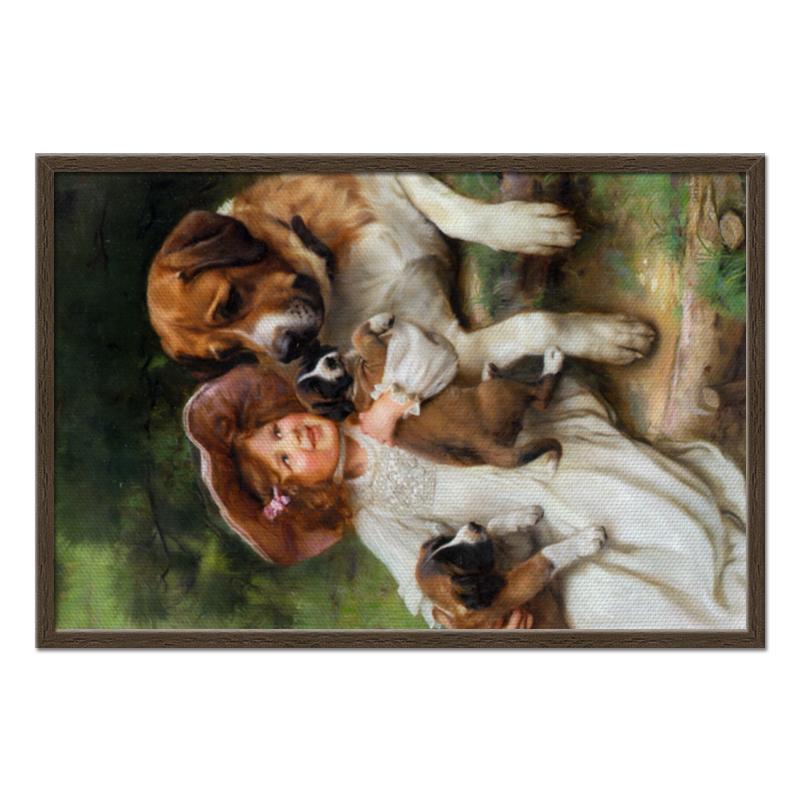 Холст 50x75 Printio Девочка, собака и щенята