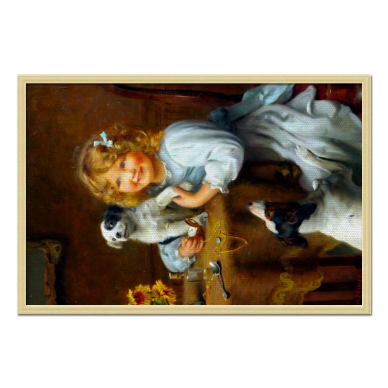где купить Холст 50x75 Printio Девочка с собакой и щенком по лучшей цене