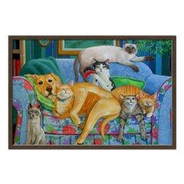 """Холст 50x75 """"Семейный вечер """" - арт, собачка, собачникам, кошатникам, красивые кошки"""