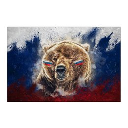 "Холст 50x75 ""Русский Медведь"" - флаг, триколор, россия, футбол, медведь"