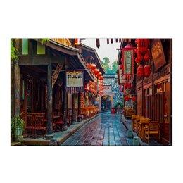 """Холст 50x75 """"Китайский райончик"""" - город, китай, ресторан, переулок, фанари"""