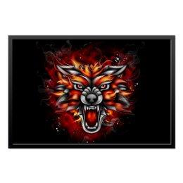 """Холст 50x75 """"Wolf & Fire"""" - огонь, волк, fire, дым, wolf"""
