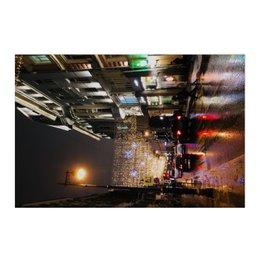 """Холст 50x75 """"Праздничная Москва"""" - большойгород, мегаполис, дождь, иллюминация"""