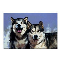 """Холст 50x75 """"Братья маламуты"""" - животные, собака, маламут"""