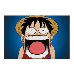 "Холст 50x75 ""Луффи - Чё??!!"" - аниме, шляпа, one piece, луффи, монки ди луффи"
