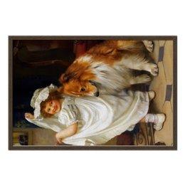 """Холст 50x75 """"Девочка с собакой"""" - собака, живопись, день матери, артур элсли"""