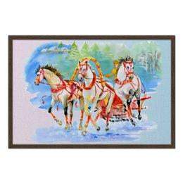 """Холст 50x75 """"Три белых коня"""" - россия, искусство, русь, тройка"""
