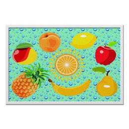 "Холст 50x75 ""Космофрукты"" - фрукты, солнце, круг, капли, лето"