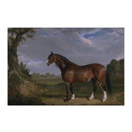 """Холст 50x75 """"Клейдесдальская лошадь"""" - лошадь, рисунок, живопись, пастораль, английский пейзаж"""