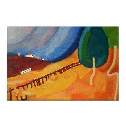 """Холст 50x75 """"Сельский пейзаж"""" - деревья, природа, пейзаж, landscape, домики"""
