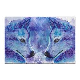"""Холст 50x75 """"Волки"""" - волк, дикий, зверь, животные, акварель"""
